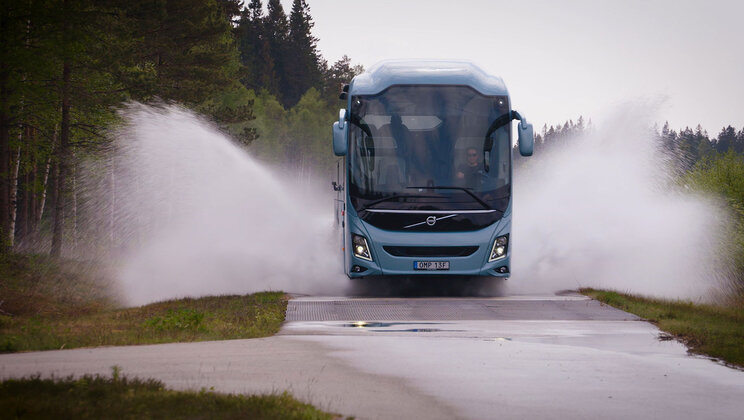 Volvo bus on test drive at the proving ground in Hällered, Sweden