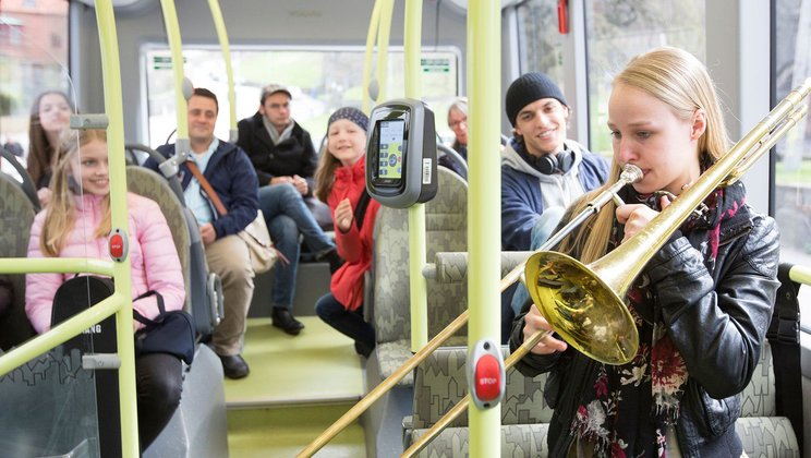 Classic concerts on electric bus route in Gothenburg, Sweden