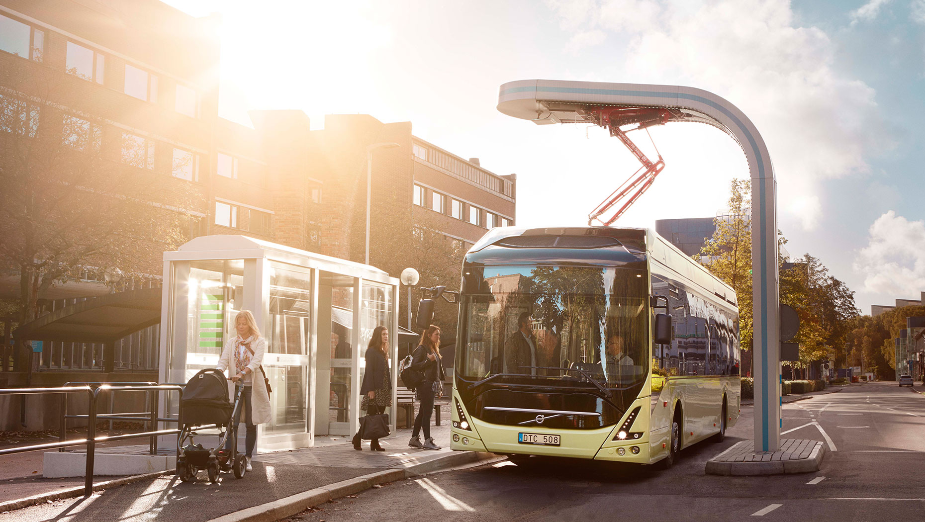 The Volvo 7900 electric bus stop